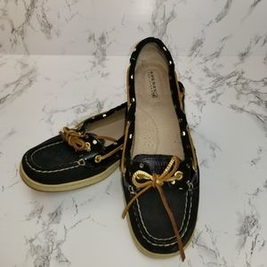 Sperry Top Siders Black & Gold Shoes Size 7.5